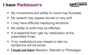 """I have Parkinson's"" Medical Alert Card"